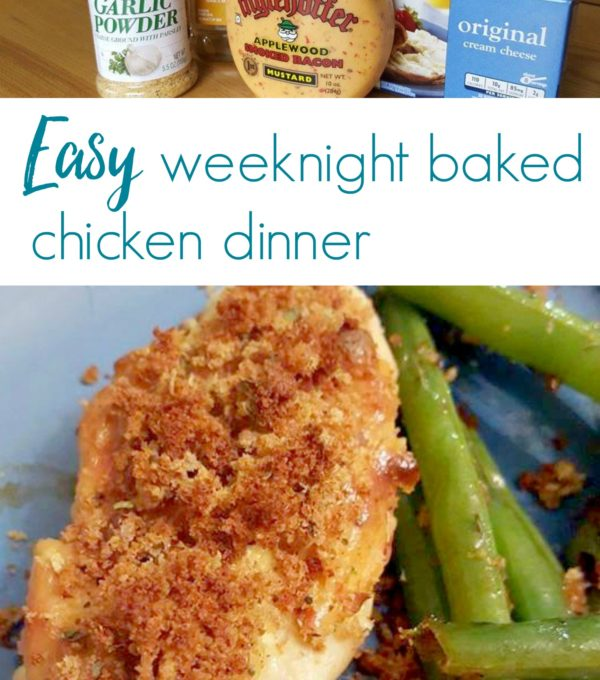 Any type of mustard can be used in this recipe but this one was great because it had a bit of a german bite to it along with a hint of bacon that tasted amazing atop the chicken breasts we had for dinner that night. If you need a quick, clean-eating, weeknight dinner fix, this baked chicken recipe will hit the spot!